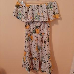 ASOS Black and White Polka Dot and Lemons Dress